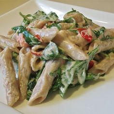 """Goat Cheese and Arugula over Penne 