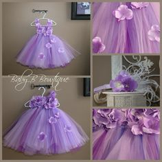 Hydrangea tutu dress  Flower girl, wedding, purple lavender tutu dress with floral bodice