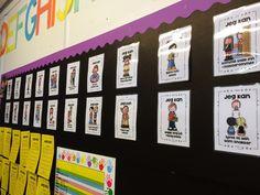 """""""Jeg kan..."""" Fokustavla vår! Her har vi hengt opp alle 22 fokusområdene våre som vi jobber etter. Vi velger ut 3 forskjellige hver time og elevene er veldig motiverte:) Teacher, Frame, Picture Frame, Professor, Teachers, Frames"""