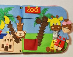 It's a great gift for your child! This book has interesting content and encourage the development of hands. The toy develops fine motor skills, attention, logical thinking. The ideas of pages also allow learning main colors, main geometrical shapes and count. A child can see himself in the mirror. Active book made of felt is recommended for children from 1 year old.  Since it is a handmade item, book design may differ slightly depending on the availability of working material. Size: 20x20…