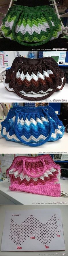Bag a Day Crochet tutorial #88 has directions for a similar bag.