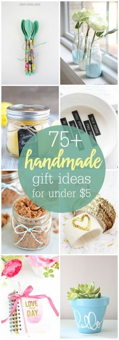 A wonderful collection of 75 Handmade Gift Ideas that can be made for under 5 Check out this great collection of DIY gifts all year long or especially for Christmas Diy Gifts Cheap, Easy Handmade Gifts, Easy Gifts, Creative Gifts, Handmade Ideas, 5 Gifts, Food Gifts, Santa Gifts, Diy Gifts To Sell