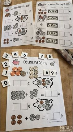 Counting Money Math Activities (freebie included) - Students practice counting money with these fun, hands-on math centers. Second Grade Math, First Grade Classroom, Math Classroom, Counting Coins, Counting Money, Free Teaching Resources, Teaching Ideas, Guided Math Groups, Money Activities
