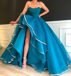 blue prom dresses 2020 sweetheart neckline tulle floor length ball gown side slit evening dress / friday dresses in new fashion · Friday Dresses · Online Store Powered by Storenvy Sparkly Prom Dresses, Pretty Prom Dresses, Elegant Dresses, Cute Dresses, Beautiful Dresses, 15 Dresses, Dresses Online, Looks Party, Sweetheart Prom Dress