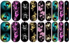 Butterflies on Black Custom Jamberry Wrap by Amanda #nailartstudio #jamberrynails