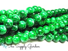 Green Fields Glass Splatter Beads (100) - pinned by pin4etsy.com
