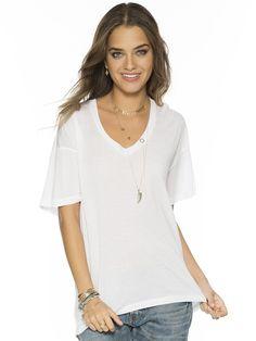 Solid White Mia V. Fashion Top