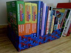Spiderman duct tape box with books