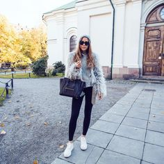 「My casual everyday uniform. Fake fur, tights and sneakers.  More on my blog www.kenzas.se 」 Kenza Zouiten waysify