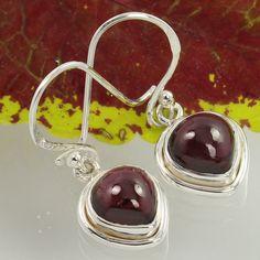 Small Pretty Earrings 925 Sterling Silver Real GARNET Gemstones Wholesale Offer…