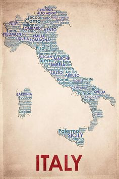 Italy Poster Print by American Flat Art by Room Maps Modern Pop Regional Decorating Ideas Word Collage Colorful International Worldly Decor Map Wall Art, Wall Murals, Palermo, Word Map, Italy Art, Poster Vintage, Photo Wallpaper, Canvas Art Prints, Framed Canvas