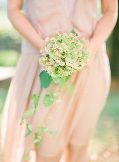 Wedding bouquet. Green hydrangea bouquet