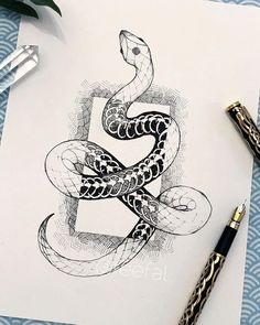 Croquis de dessin art serpent - Croquis de dessin d& serpent – – - Snake Sketch, Snake Drawing, Snake Art, Art Drawings Sketches, Tattoo Sketches, Animal Drawings, Tattoo Drawings, Sketch Drawing, Drawings Of Snakes