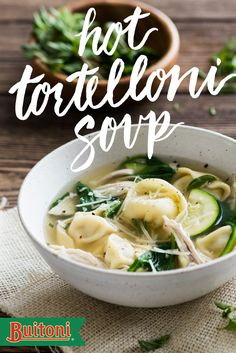 Make a bowl of soup into a meal with Buitoni Chicken & Roasted Garlic Tortelloni. Shredded chicken breast, zucchini, and baby spinach elevate the taste of the broth. Garlic, shredded Parmesan cheese, and finely chopped fresh oregano round out the flavor, making the perfect hot soup for cold nights.