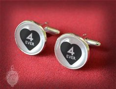 Heart Cufflinks  4 ever   Eternal love by GothChicAccessories, €15.00