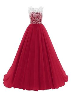 JY FASHION® Women's Ruched Sleeveless Lace Long Evening Dress Prom Gown #09 US 18 Dark Red