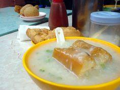 Hong Kong Food - porridge, friend dough, sesame balls, noodled friend dough.