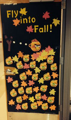 Angry birds/ fall themed door on my classroom for my second door