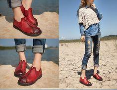 3 Colors Handmade ShoesOxford Women Shoes Flat Shoes Retro