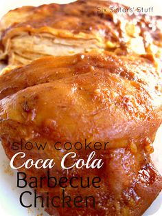 "Slow Cooker Coca Cola BBQ Chicken- one of our ""go-to"" crock pot recipes! Easy and delicious. SixSistersStuff.com #slowcooker #recipe #chicken"