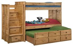Chelsea Home Twin Over Twin Bunk Bed with Staircase in Ginger Stain - traditional - Kids Beds - Beyond Stores : houzz