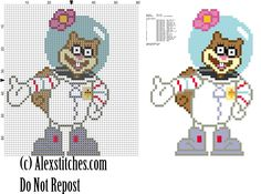 Sandy Cheeks squirrel spongebob free cross stitch pattern