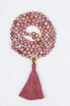 Rhodonite Mala Necklace, Mala Beads, Meditation: I Am Worthy. I am deserving of all that I receive.