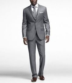 I'm liking the idea of gray suits with the green dresses...hmmm...