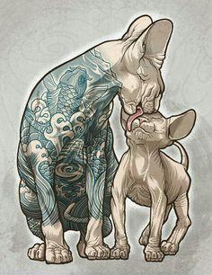 Animals with tats? Lol Sphynx, Cat Drawing, Painting & Drawing, Sphinx Cat, Janssen, Sketch Manga, Tatoo Art, Art Reference, Love Art