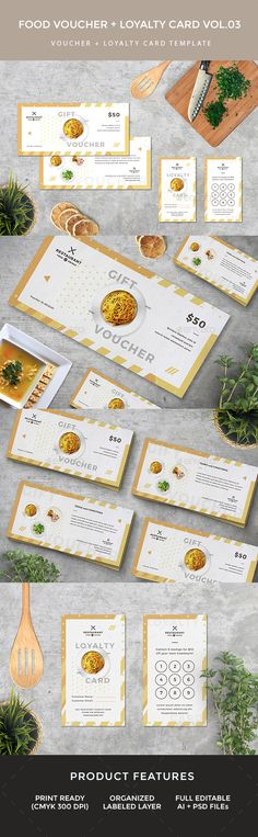 Gift Voucher Loyalty Card by infinite78910 FeaturedAI   Psd Files 8.5 x 4   Bleed ( Voucher) 2 x 3.5 (Loyalty Card) CMYK 300 DPI Print Ready Well Organized Layer Full Editab