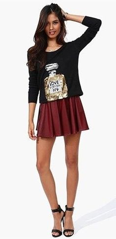 Burgundy Wine Pleated Faux Leather Elastic Waist Skater Mini Skirt