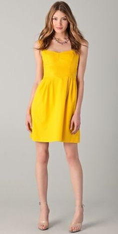 Yellow cotton bridesmaid dress