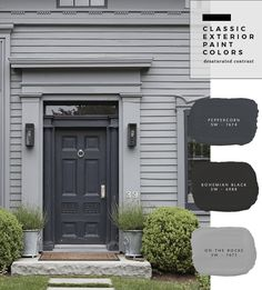 Exterior Paint Color Combinations - Room for Tuesday Exterior Gris, Exterior Gray Paint, Exterior Paint Colors For House, Paint Colors For Home, Exterior Design, Outside House Paint Colors, Black Trim Exterior House, Painting House Exteriors, House Paint Colours