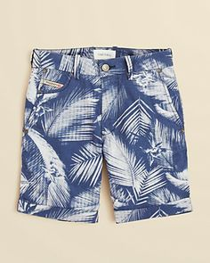 Diesel Boys' Hawaiian Print Cuffed Shorts.