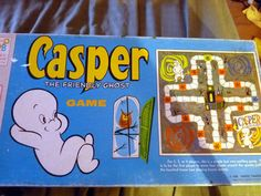 Casper the Friendly Ghost 1959 board game. Play a fun Parcheesi-like game with Casper the Friendly Ghost!  The rules are very similar to Parcheesi-style play with players trying to get their four tokens home to a spooky haunted house in the center of the board. Game is for 2-4 players, and is something children and adults could enjoy together! Simple enough rules for kids, but the strategy involved makes it fun for grownups too. $13.00