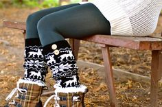 I need these to go Christmas tree hunting in :) Cozy Socks, Winter Socks, Black Knit, Warm And Cozy, Leg Warmers, Reindeer, Fashion Forward, Hunting, Fashion Accessories