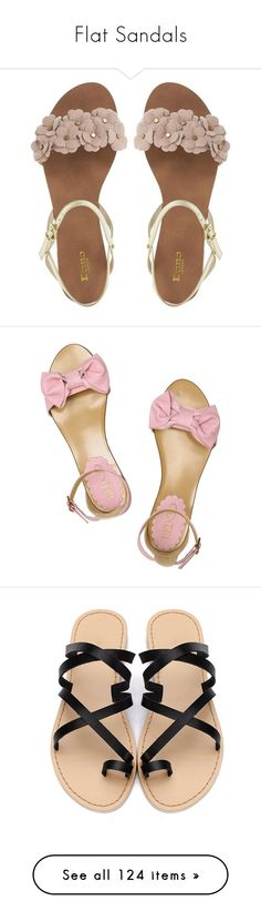 """""""Flat Sandals"""" by elda-1985 ❤ liked on Polyvore featuring shoes, sandals, flats, sapatos, pink flat shoes, pink flats, pink sandals, pink flat sandals, strappy flats and brown"""