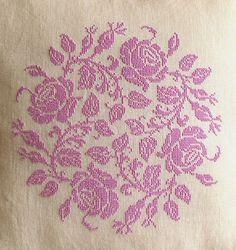 Sew French : Garland of Roses Pillow ~ French cross stitch, pink, shabby chic cross stitch ~ pretty cross stitch