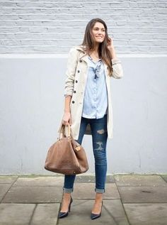 light chambray + ripped skinnies + trench