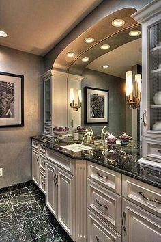 hallway bathroom luxury homes dream Narrow Entryway, Entryway Mirror, Bathroom Bath, Bathrooms, Ikea Interior, Small Hallways, Luxury Homes Dream Houses, Luxury Bath, Hallway Decorating