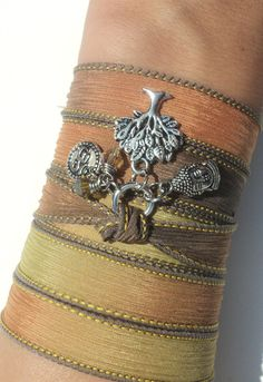Buddha Tree of Life Silk Wrap Bracelet Namaste Yoga Jewely Autumn Fall Brown Orange Bohemian Anklet Necklace Unique Gift Under 50 Item S76. $30.95, via Etsy.