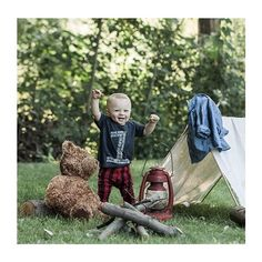 Super adorable little boy photoshoot! Camping lumberjack woods bear plaid