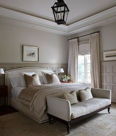 Master Bedroom. I adore the bench at the end of the bed!!
