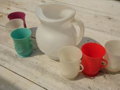 6 KOOLAID cups & pitcher by OldSteamerTrunkJunk on Etsy, $55.00