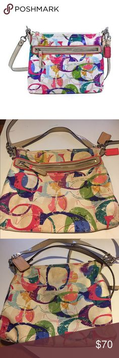 """Coach Signature Poppy Stamped C Hippie Hobo Bag This gorgeous Coach bag is In EUC!!! There is some wear on the straps as seen in photo #4. Also color is a bit faded from stock photo. 100% AUTHENTIC!! More info: Stamped C Print Fabric with Patent Fabric Trim. Polished Silver Tone Hardware. Approximate size: 12 1/2"""" L  X 10"""" H X 1 1/3"""" D & handles with 8 1/2"""" Drop. Removable longer strap for shoulder or crossbody wear. Zip top closure, fabric lining. Exterior zip pocket on front. Inside…"""