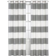 Alston Ivory/Grey Curtain Panel in Curtains | Crate and Barrel - maybe for Livi's room?
