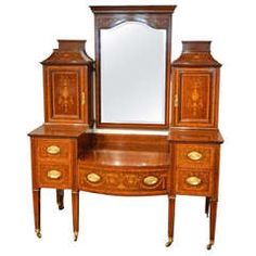 Mahogany Inlaid Edwardian Period Antique Dressing Table