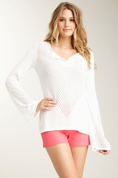 V-Neck Perforated Knit Top
