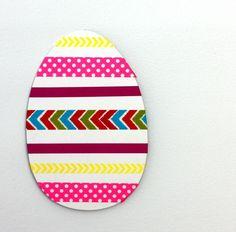 Washi-Tape Osterkarten basteln mit Kindern-bunte Streifen als Highlight