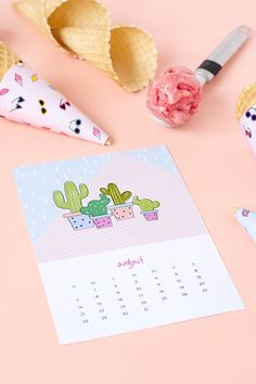 Printable cactus calendar and summer ice cream cone wrappers